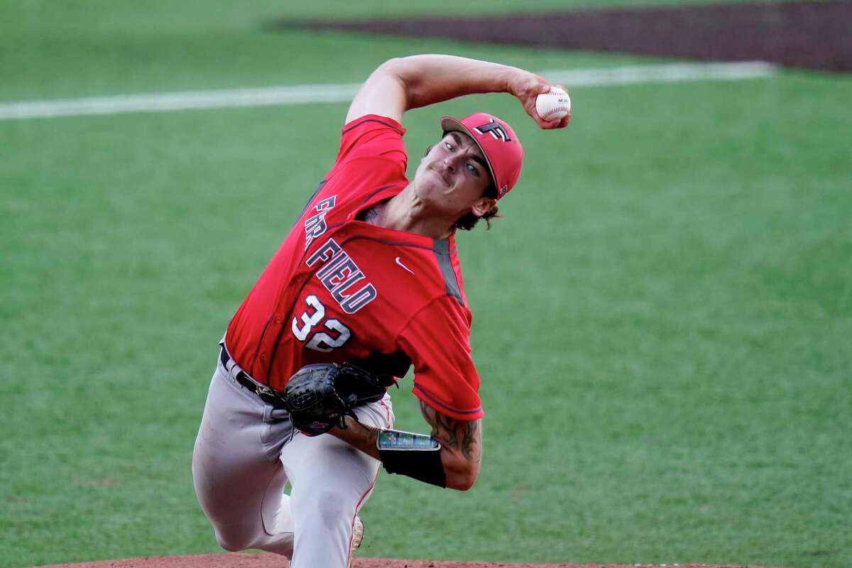 Fairfield's Trey McLoughlin delivers a pitch against Arizona State in the first inning in of Game 2 of the NCAA college baseball regional tournament, Friday, June 4, 2021, in Austin, Texas. (AP Photo/Eric Gay)