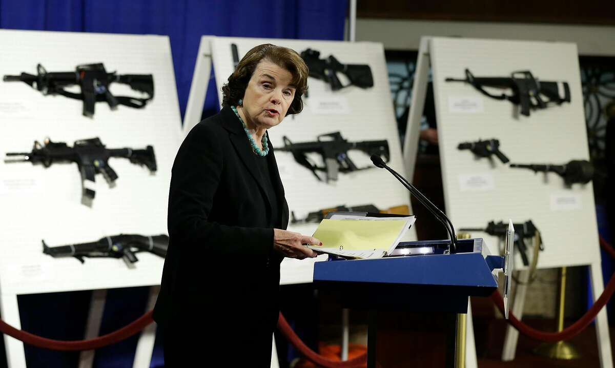 Sen. Dianne Feinstein, D-Calif., discusses assault weapons on Capitol Hill in 2013. Feinstein has sought to ban the weapons.