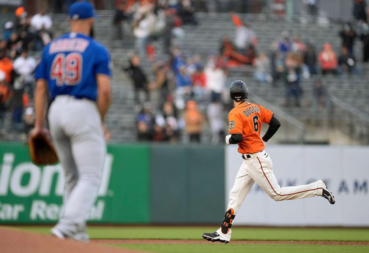 SAN FRANCISCO, CALIFORNIA - JUNE 04: Steven Duggar #6 of the San Francisco Giants trots around the bases after hitting a two-run home run off of Jake Arrieta #49 of the Chicago Cubs in the bottom of the second inning at Oracle Park on June 04, 2021 in San Francisco, California. (Photo by Thearon W. Henderson/Getty Images)