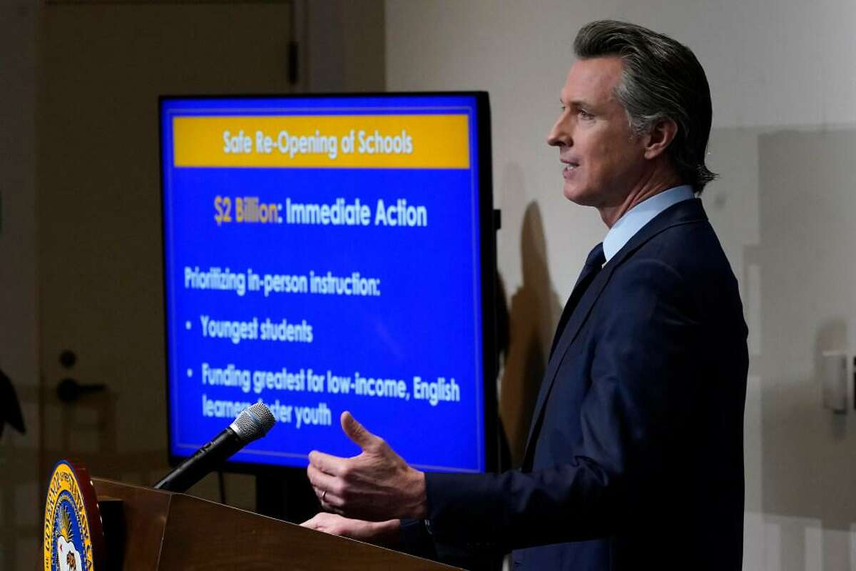 Gov. Gavin Newsom speaks about his 2021-22 budget in January.