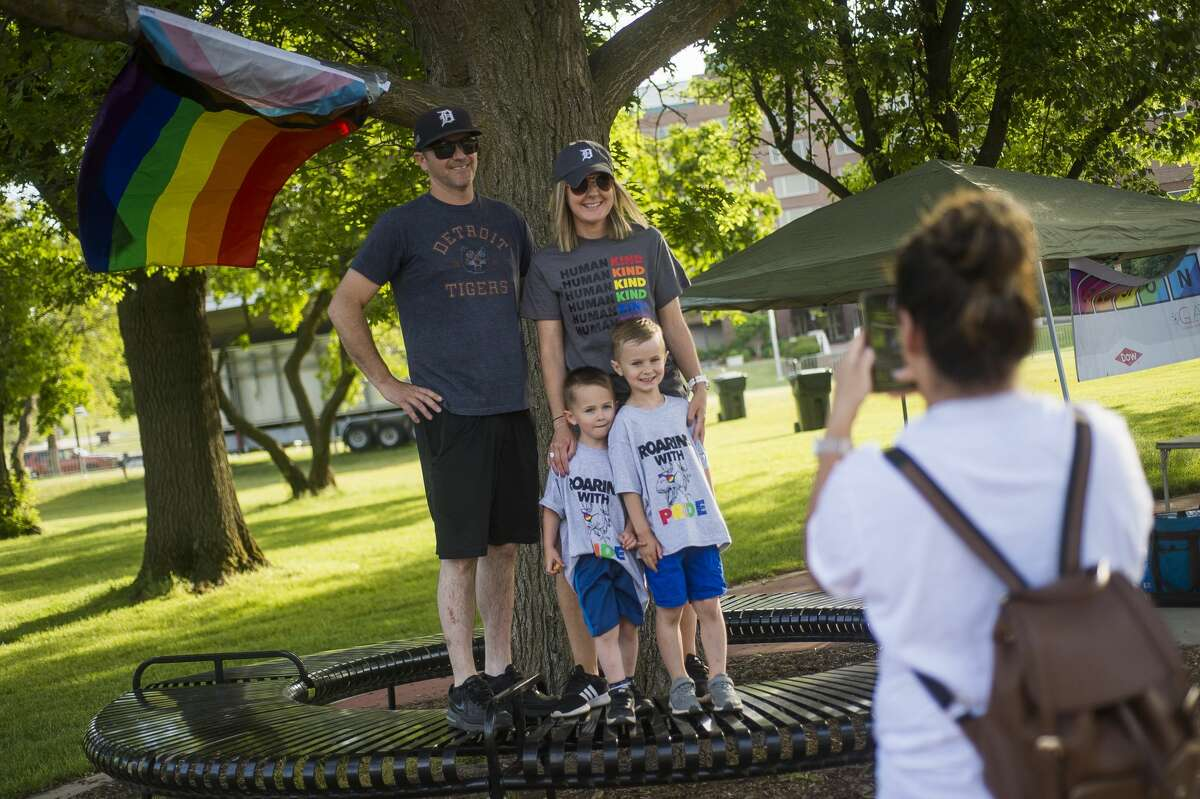 Runners and walkers participate in a local Stride for Pride event hosted by Michigan GLAD, a Dow LGBTQ+ and ally employee resource group, Saturday, June 5, 2021 beginning at the Tridge in Midland. (Katy Kildee/kkildee@mdn.net)