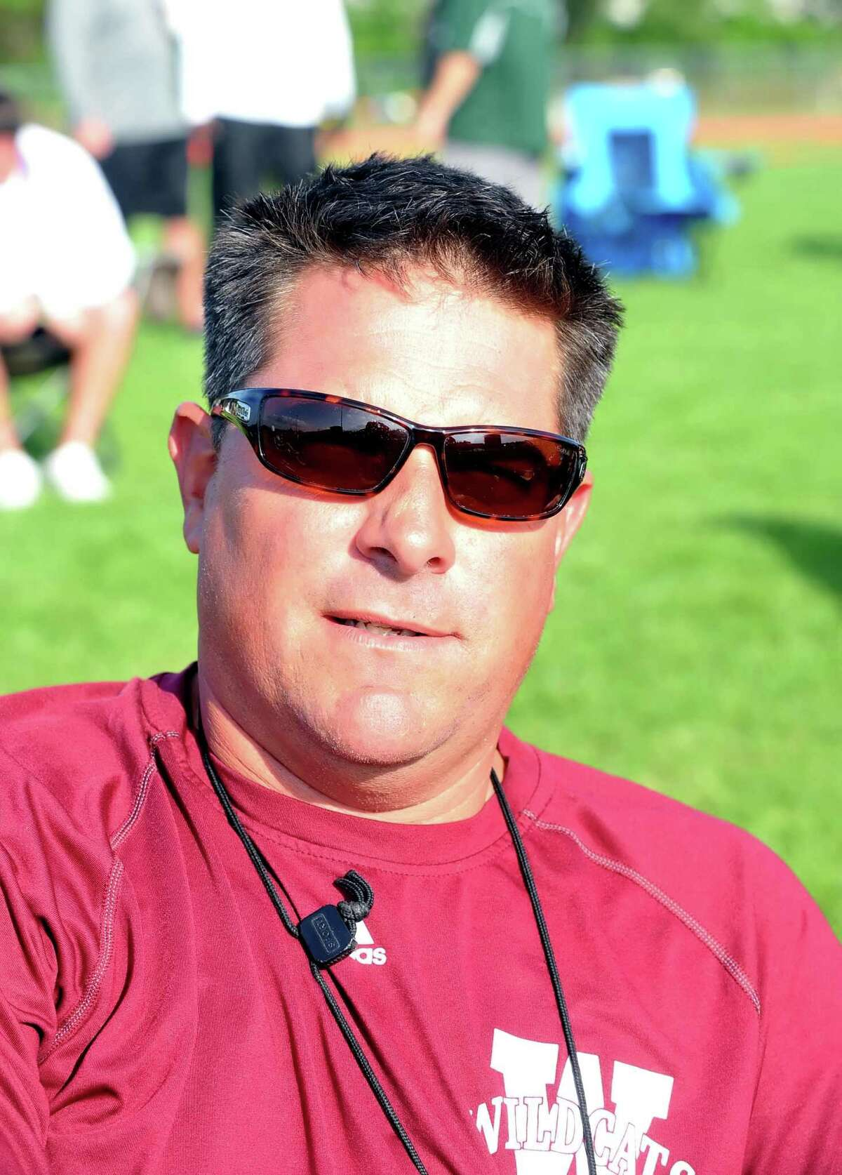 The UIL District 17 6A track meet was held, 4-14-2016, at Cy Ridge High School. Cy Woods boys track coach Mike Zachos.