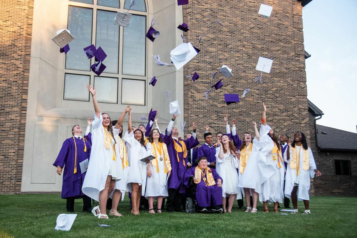 Graduating seniors from Calvary Baptist Academy celebrate a commencement ceremony Friday, June 4, 2021 at Calvary Baptist Church in Midland. (Isaac Ritchey/for the Daily News)