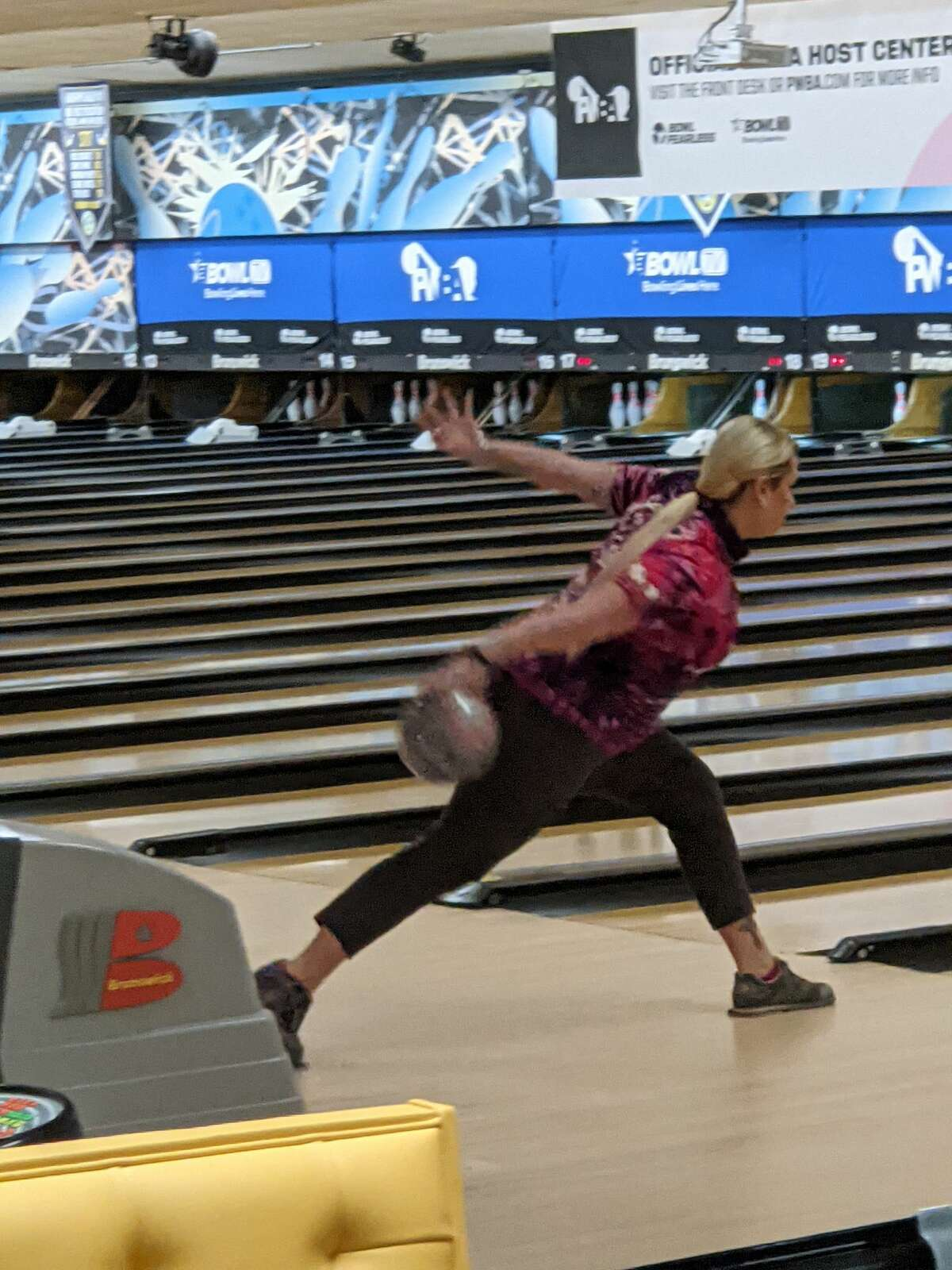 Liz Kuhlkin of Rotterdam rolls a shot Saturday, June 5, 2021, during the cashers' round of the PWBA Albany Open at Kingpin's Alley in South Glens Falls. Kuhlkin finished 24th in the tournament.