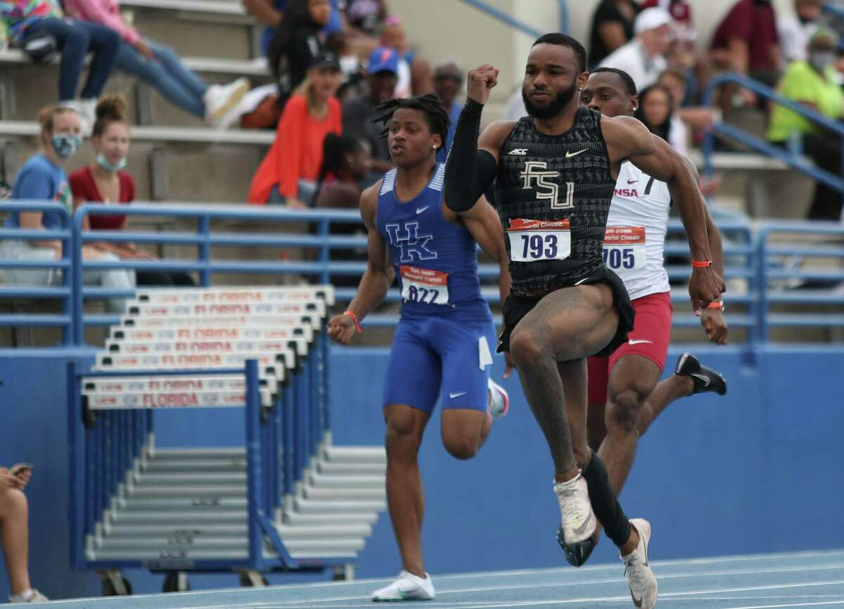 Florida State sprinter and Conroe High School alum Jo'Vaughn Martin, shown here earlier this season, qualified for two championship races the NCAA Track & Field Outdoor Championships on Wednesday, June 9, 2021, in Eugene, Oregon.