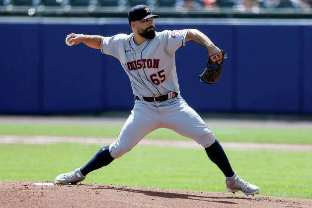 Houston Astros starting pitcher Jose Urquidy (65) throws during the first inning of the team's baseball game against the Toronto Blue Jays in Buffalo, N.Y., Saturday, June 5, 2021. (AP Photo/Joshua Bessex) Photo: Joshua Bessex, Associated Press / Copyright 2021 The Associated Press. All rights reserved