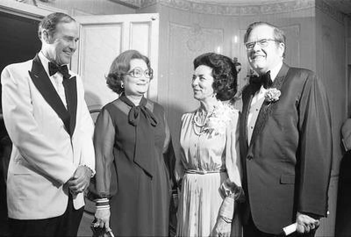 Gov. Dolph Briscoe, right, is speaker at a SACOP banquet in 1977, with Sid Cockrell, from left, Lila Cockrell and Janey Briscoe.