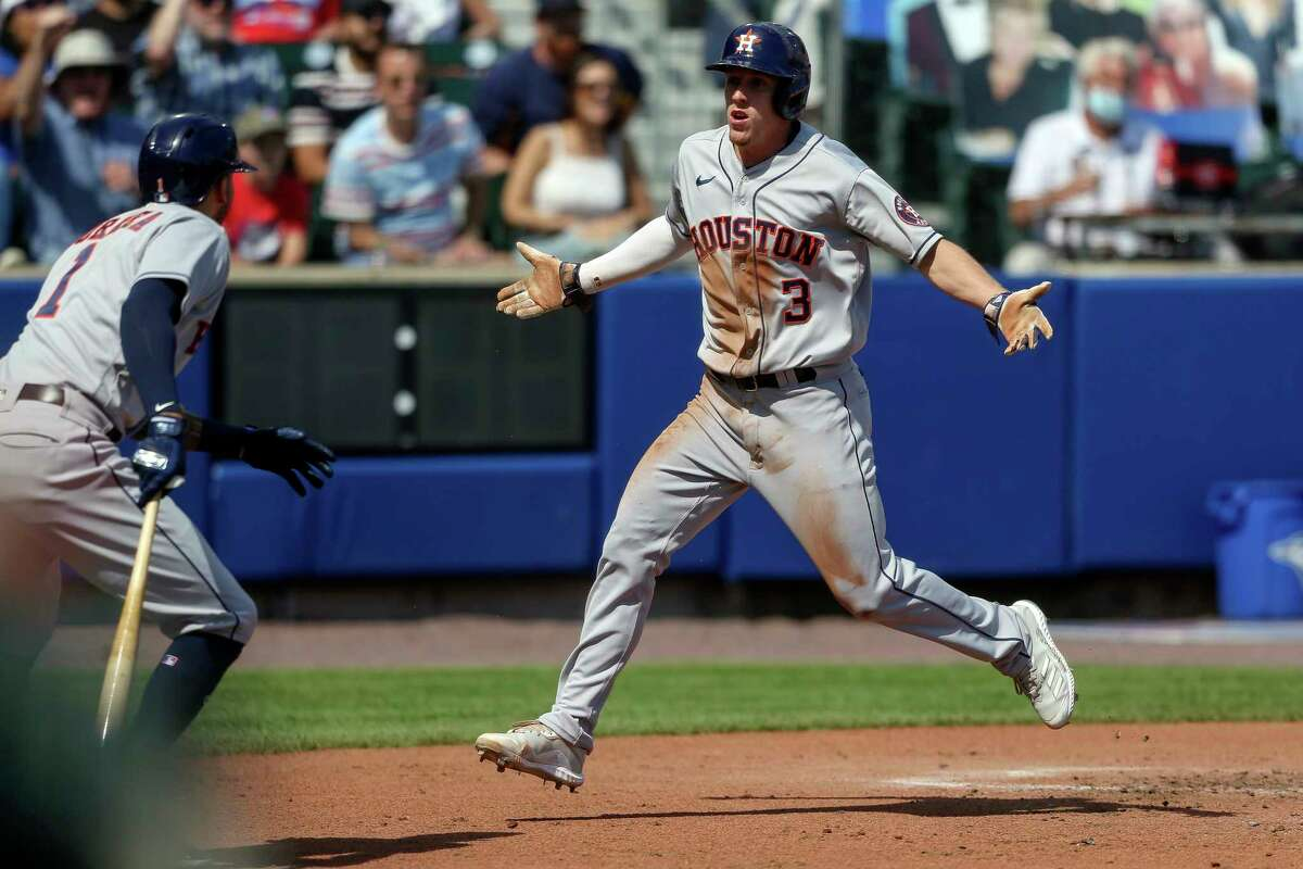 Houston Astros' Myles Straw (3) reacts after being tagged out at home plate by Toronto Blue Jays catcher Reese McGuire during the third inning of a baseball game in Buffalo, N.Y., Saturday, June 5, 2021. (AP Photo/Joshua Bessex)
