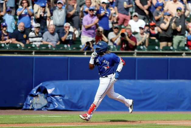 Toronto Blue Jays' Vladimir Guerrero Jr. reacts as he rounds third base after hitting a two-run home run in the fifth inning of a baseball game against the Houston Astros in Buffalo, N.Y., Saturday, June 5, 2021. (AP Photo/Joshua Bessex) Photo: Joshua Bessex, Associated Press / Copyright 2021 The Associated Press. All rights reserved