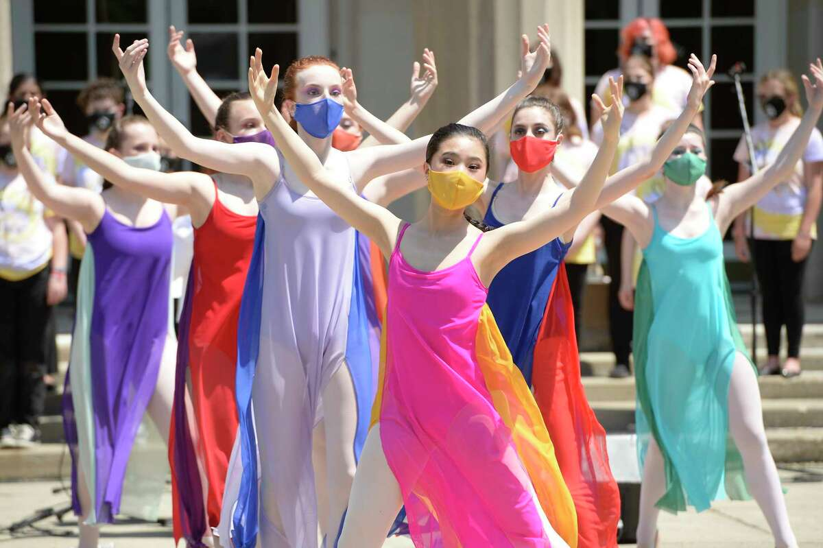 Performers of the Northeast Ballet Company dance ballet for the Festival of Young Artists at Saratoga Performing Arts Center in Saratoga Springs, Saturday, Jun. 5, 2021. (Jenn March, Special to the Times Union)