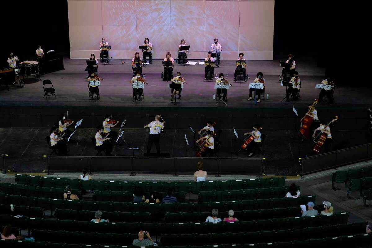 ESYO Classical Symphony Orchestra performs for a distant audience during the Young Artists Festival at the Saratoga Performing Arts Center in Saratoga Springs on Saturday, June 5, 2021 (Jenn March, Times Union special)