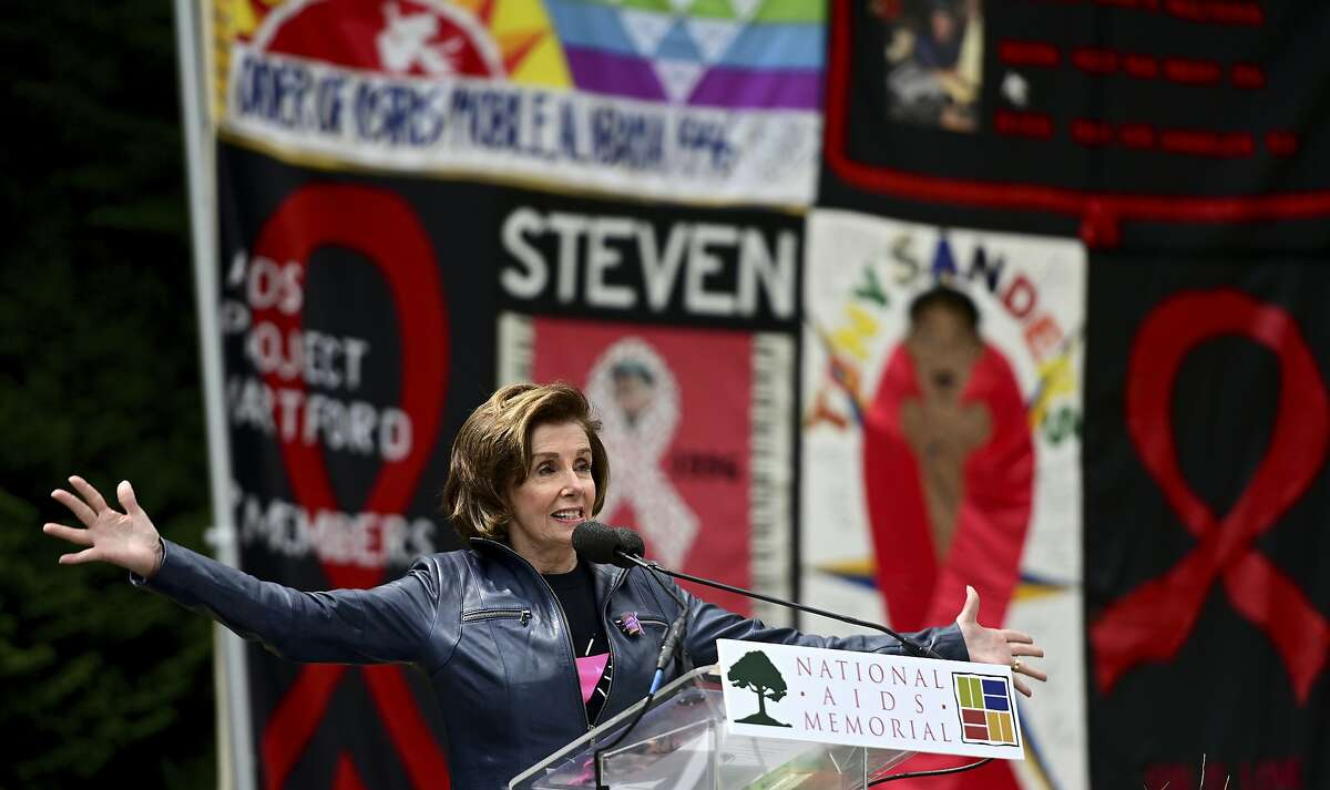 House Speaker Nancy Pelosi addresses a gathering at the National AIDS Memorial Grove in San Francisco's Golden Gate Park to observe the 40th anniversary of the first reported U.S. cases of the disease.