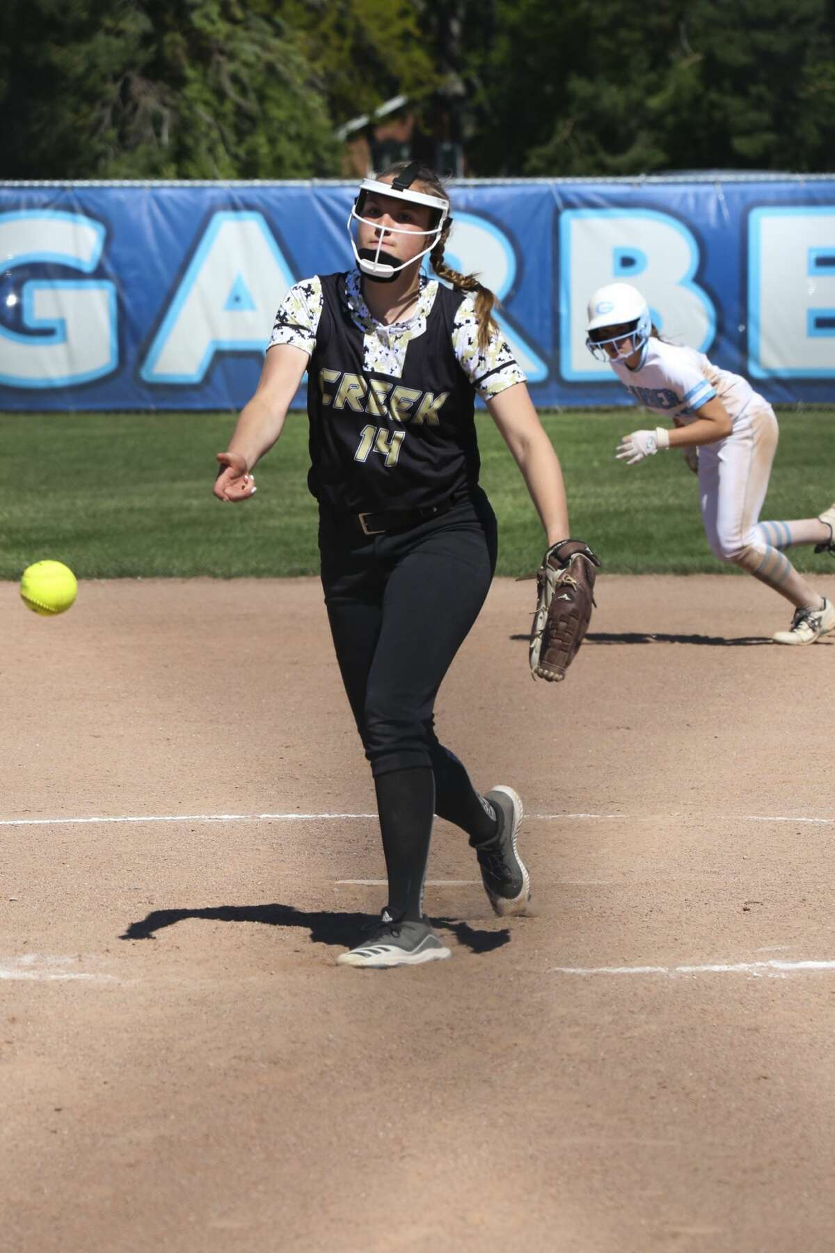 Bullock Creek's Heidi Nagel pitches the ball during the Lancers' game against Garber Saturday, June 5, 2021 at Garber High School. (Doug Julian/for the Daily News)