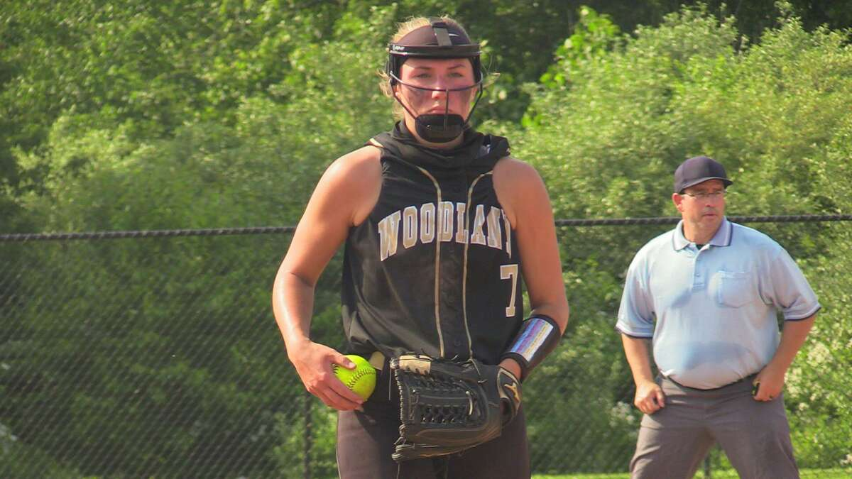 Woodland pitcher Samantha Sosnovich helped lead the Hawks to a Class M quarterfinal win over Wolcott on Saturday.