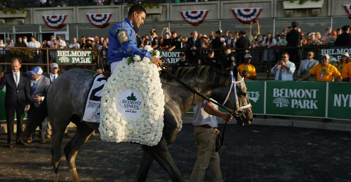 ELMONT, NEW YORK - JUNE 05: Essential Quality with Luis Saez up wins the 153rd running of the Belmont Stakes at Belmont Park on June 05, 2021 in Elmont, New York. (Photo by Sarah Stier/Getty Images)