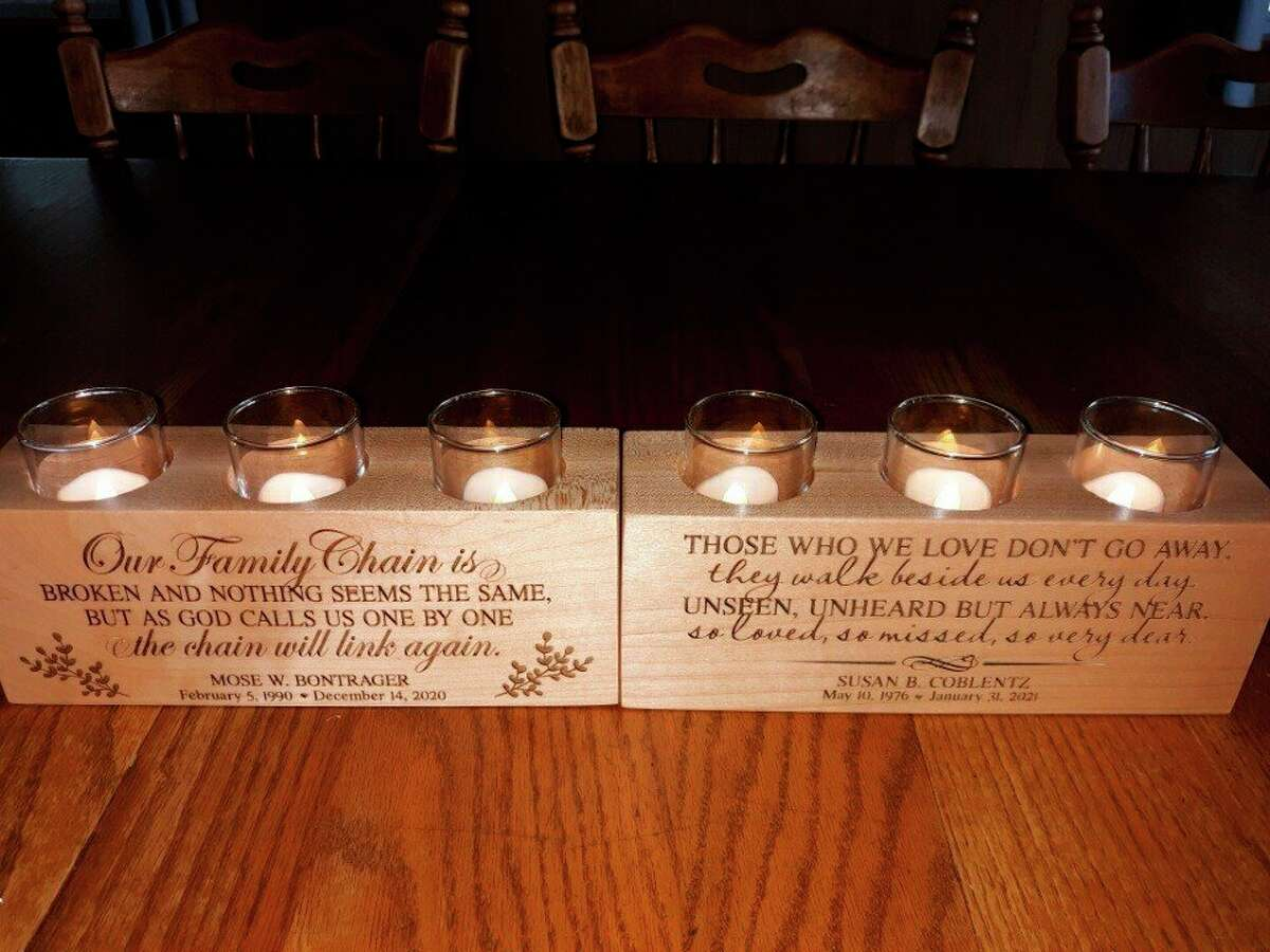 Lovina sometimes lights these candles, given to her as memorial gifts from her children, to remember her dear sister Susan and dear son-in-law Mose. (Courtesy photo)