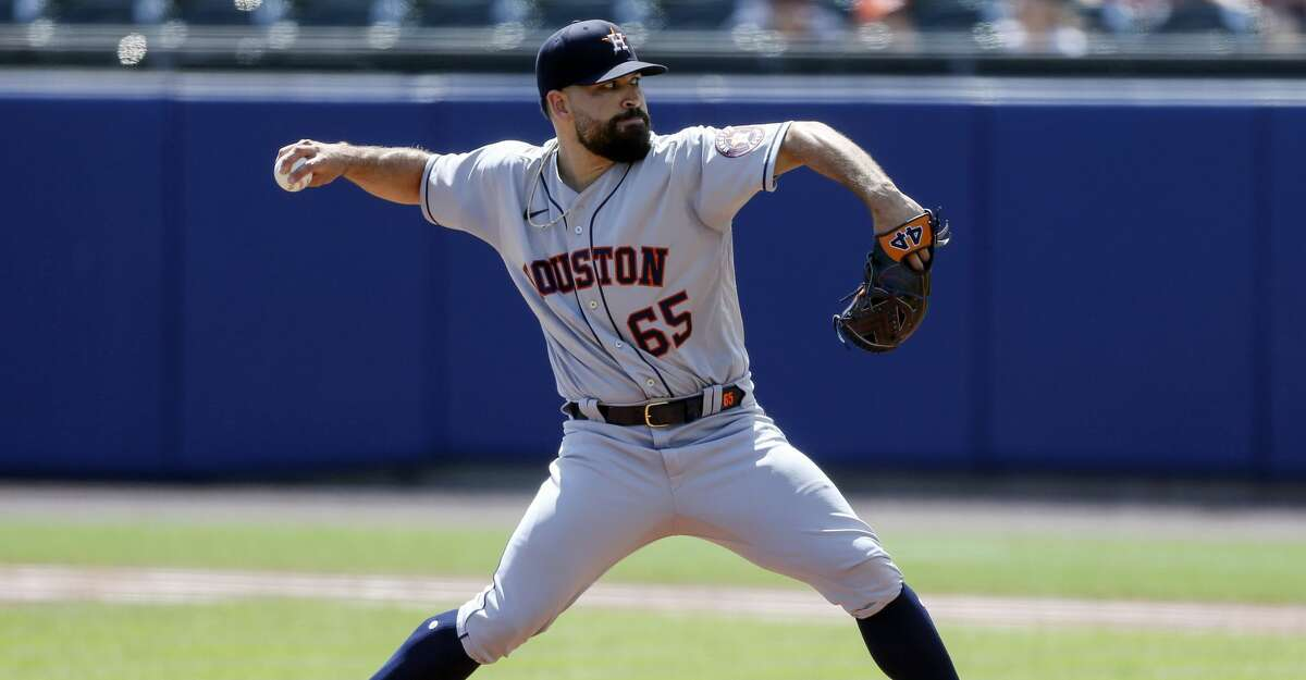 Houston Astros starting pitcher Jose Urquidy (65) throws during the first inning of the team's baseball game against the Toronto Blue Jays in Buffalo, N.Y., Saturday, June 5, 2021. (AP Photo/Joshua Bessex)