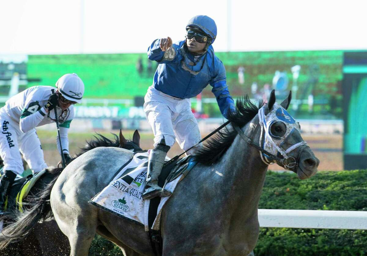Essential Quality with jockey Luis Saez wins the 153rd running of the Belmont Stakes at Belmont Park Saturday June 5, 2021 in Elmont, N.Y. . Photo Special to the Times Union by Skip Dickstein
