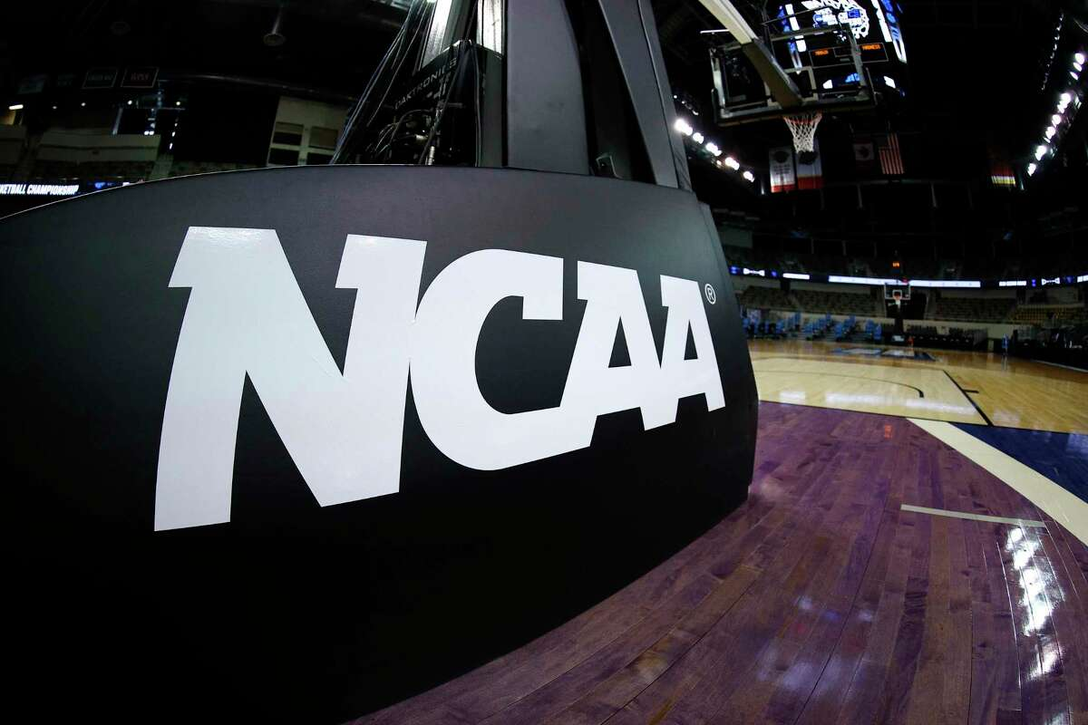 INDIANAPOLIS, INDIANA - MARCH 21: The NCAA logo is seen on the basket stanchion before the game between the Oral Roberts Golden Eagles and the Florida Gators in the second round game of the 2021 NCAA Men's Basketball Tournament at Indiana Farmers Coliseum on March 21, 2021 in Indianapolis, Indiana. (Photo by Maddie Meyer/Getty Images)