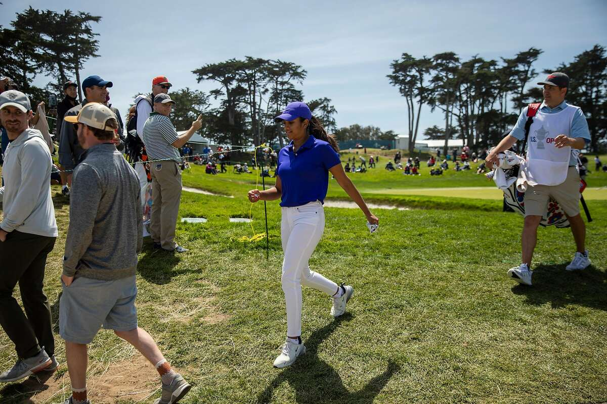 Megha Ganne walks to the third hole for her tee shot during the third round of the 76th U.S. Women's Open Championship held on the Lake Course at the Olympic Club, Saturday, June 5, 2021, in San Francisco, Calif.