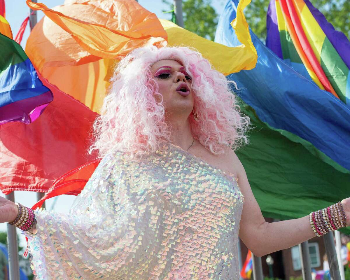 Champagne performs during the Legends of Drag at the Schenectady Pride Day of Visibility event at Gateway Plaza in Schenectady, NY, on Saturday, June 5, 2021 (Jim Franco/Special to the Times Union)