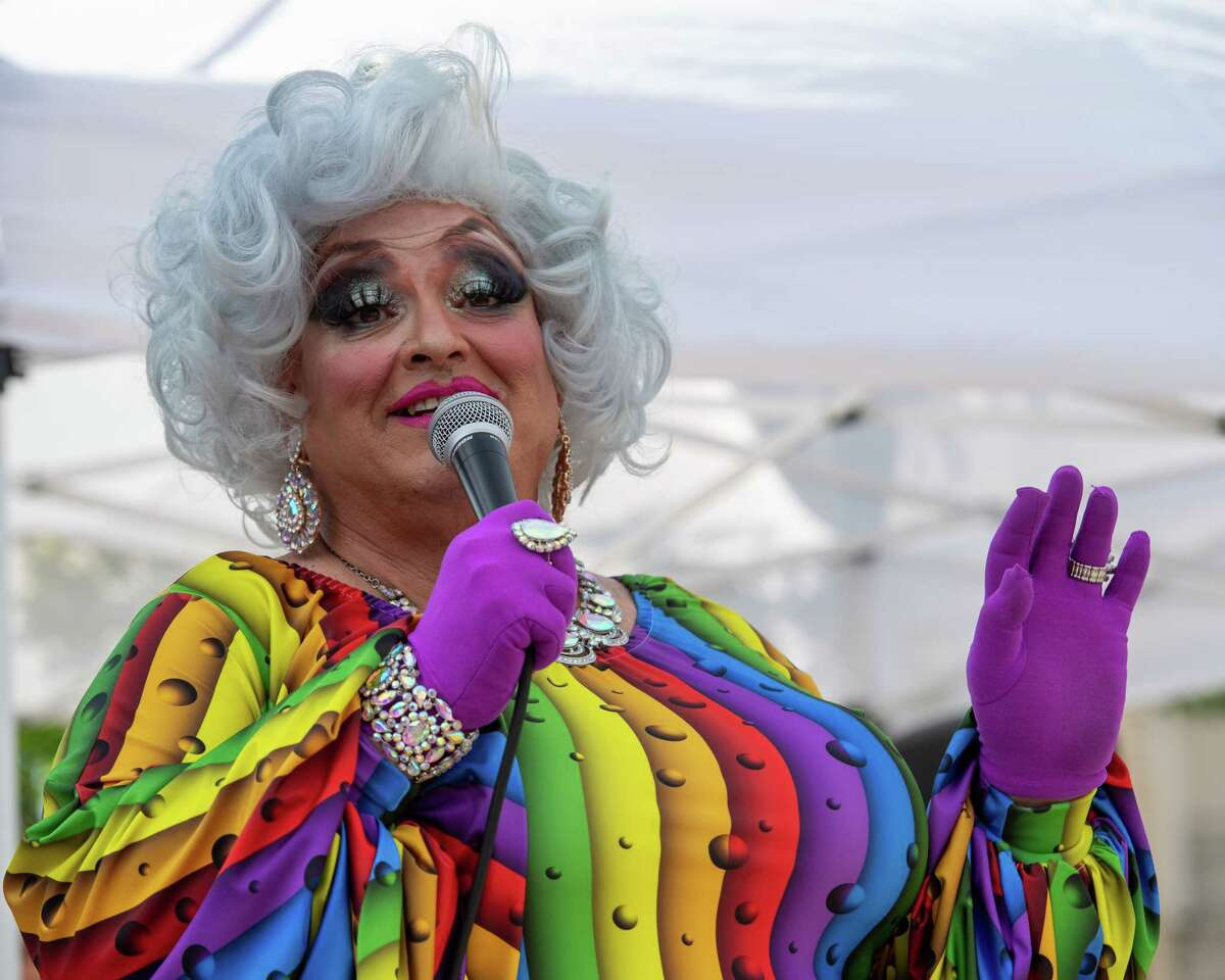 Live Mic Frieda performs during the Legends of Drag at the Schenectady Pride Day of Visibility event at Gateway Plaza in Schenectady, NY, on Saturday, June 5, 2021 (Jim Franco/Special to the Times Union)