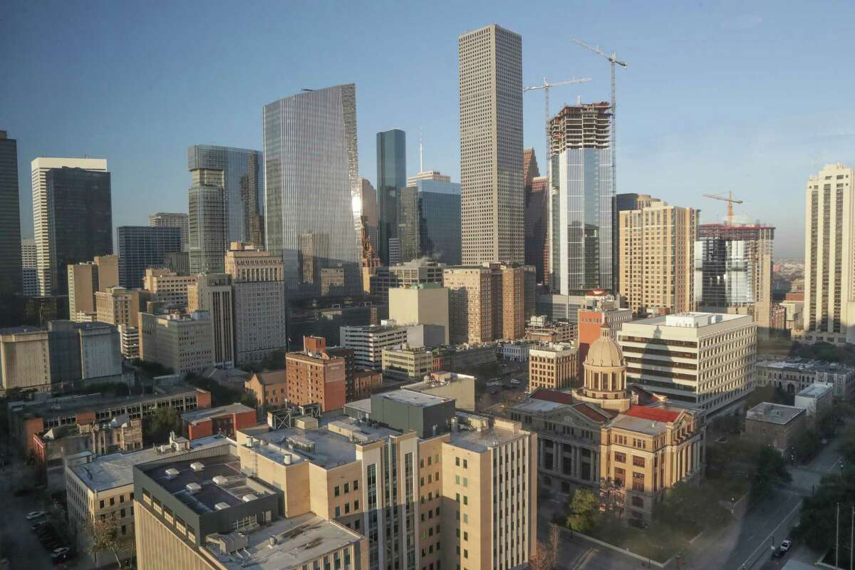 The downtown skyline photographed from the Harris County Civil Courts at Law building Wednesday, Feb. 3, 2021, in Houston.