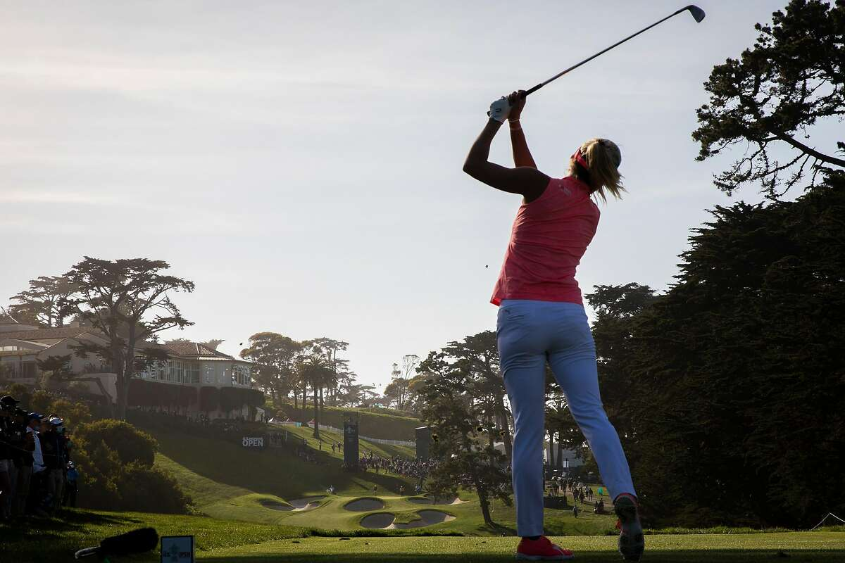Lexi Thompson hits her tee shot on No. 18 during the third round of the U.S. Women's Open at the Olympic Club. Thompson, who holds the 54-hole lead, parred the par-4 hole.