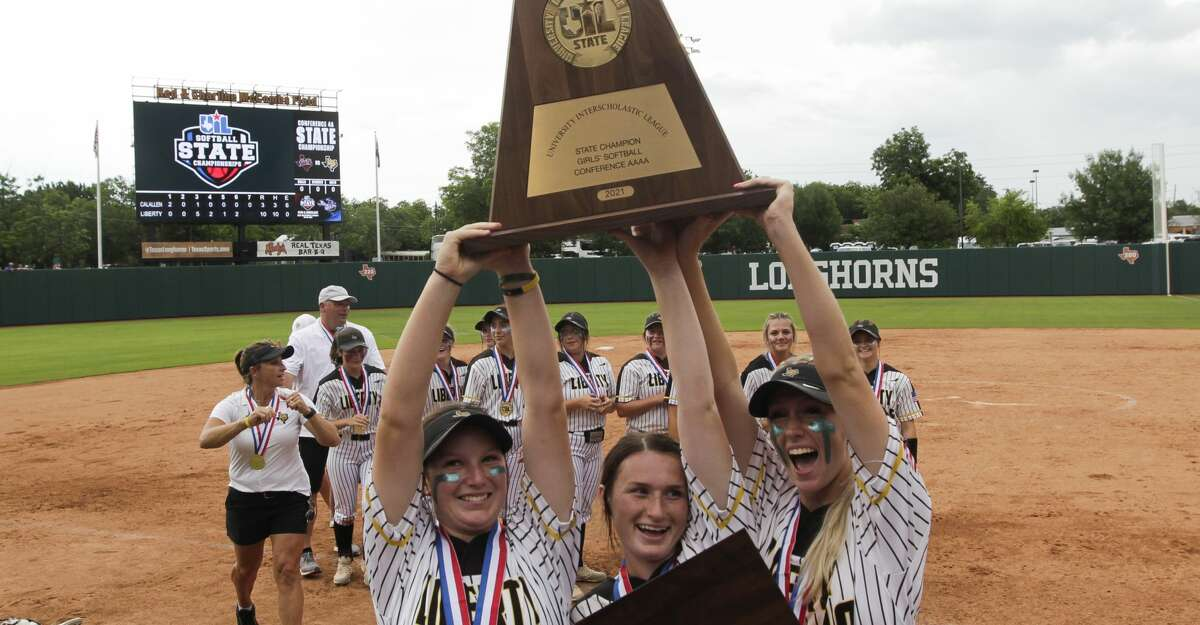 Liberty players celebrate after defeating Calallen 10-3 to win the Class 4A UIL state championship at Red & Charline McCombs Field, Saturday, June 5, 2021, in Austin.