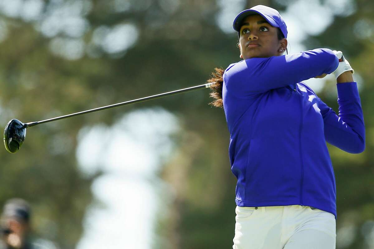 Megha Ganne hits her tee shot on the sixth hole during the third round of the 76th U.S. Women's Open Championship held on the Lake Course at the Olympic Club, Saturday, June 5, 2021, in San Francisco, Calif.
