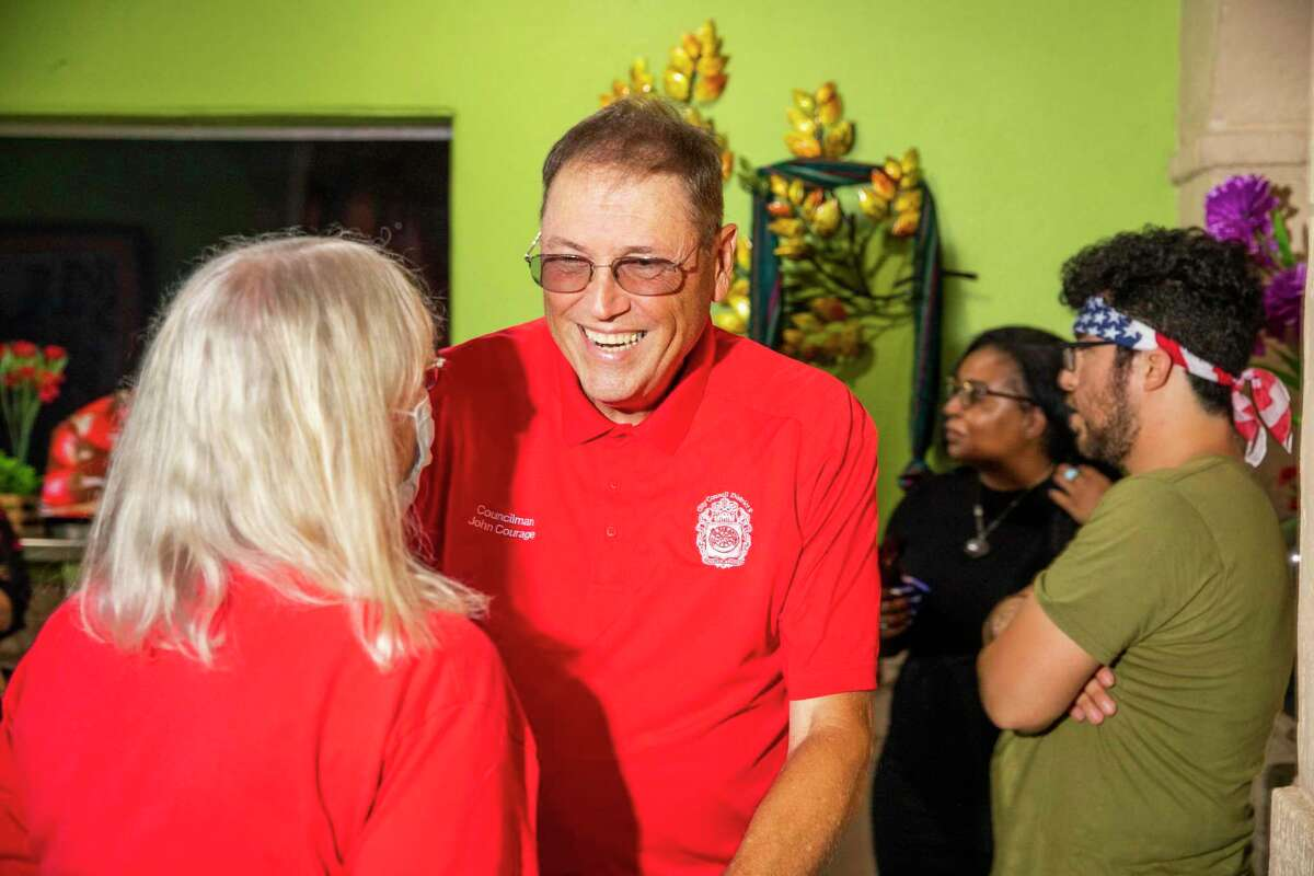 District 9 City Councilman John Courage and his wife Zada True Courage celebrate at Tilo Mexican restaurant on Saturday, June 5, 2021 in San Antonio. Courage, seeking a third term on City Council, defeated challenger Patrick Von Dohlen.
