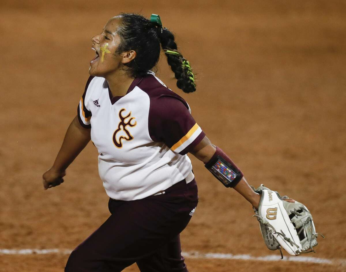 Deer Park starting pitcher Hannah Benavides (7) reacts after getting out of a bases-loaded jam in the sixth inning of the Class 6A UIL state championship game at Red & Charline McCombs Field, Saturday, June 5, 2021, in Austin.