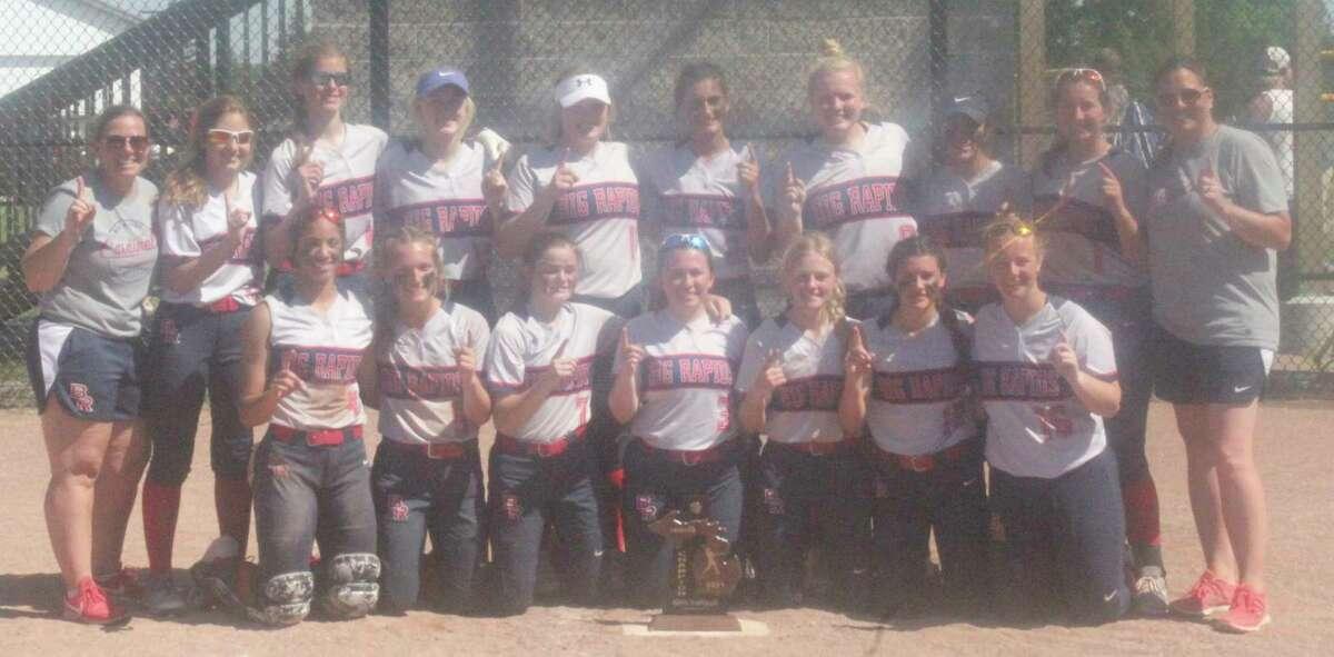 Big Rapids' softball team celebrated the district title on Saturday. (Pioneer photo/John Raffel)
