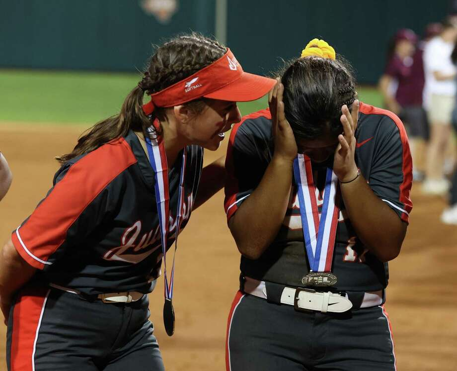 Crestfallen Judson Rockets players console each other following a 1-0 loss to Deer Park in the UIL Class 6A state championship game Saturday night at UT's Red & Charline McCombs Field. Photo: Scott W. Coleman / Contributor / © 2019 Scott W. Coleman, all rights reserved.