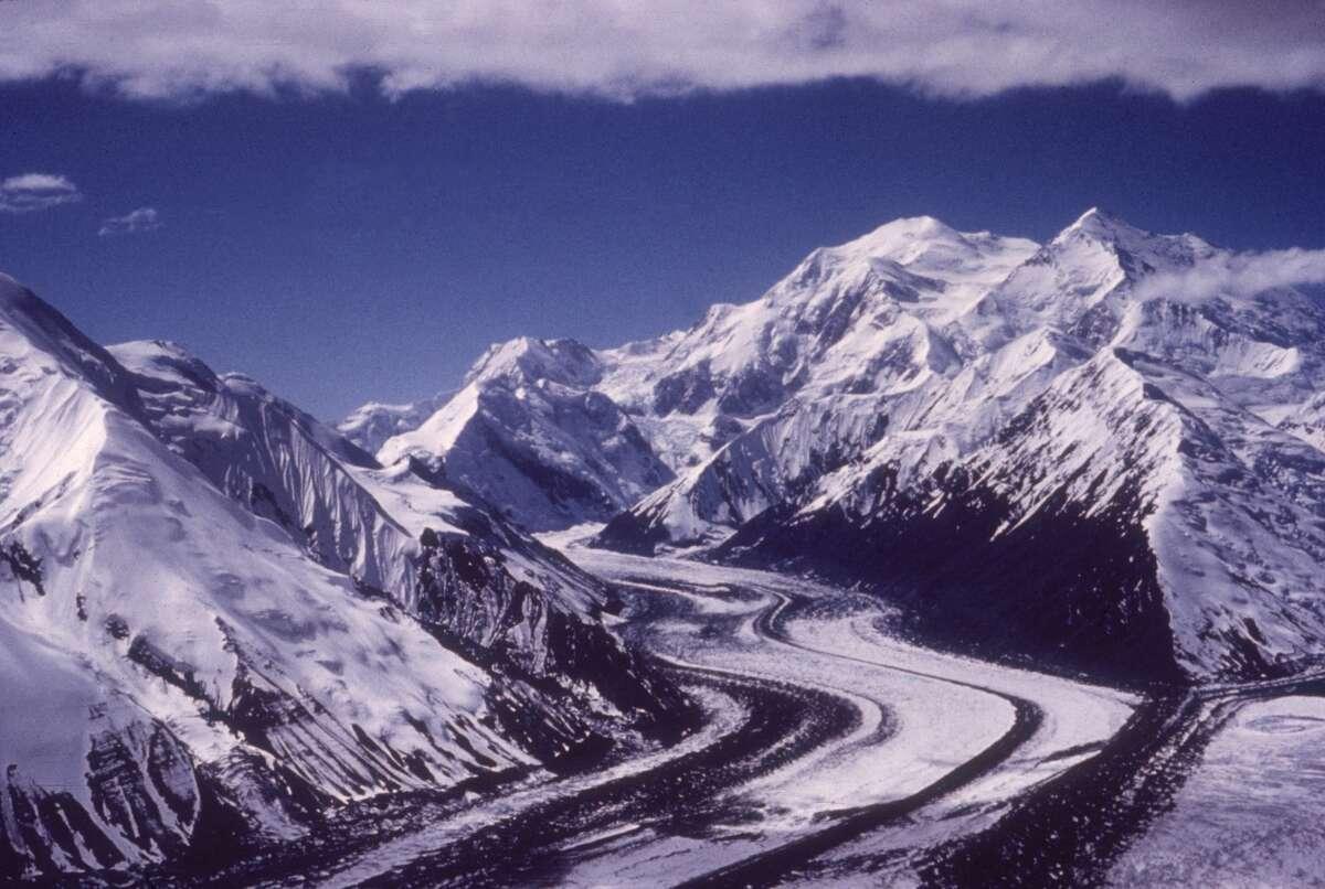Circa 1992: Scenic view of Muldrow Glacier in Mount McKinley National Park, Alaska.