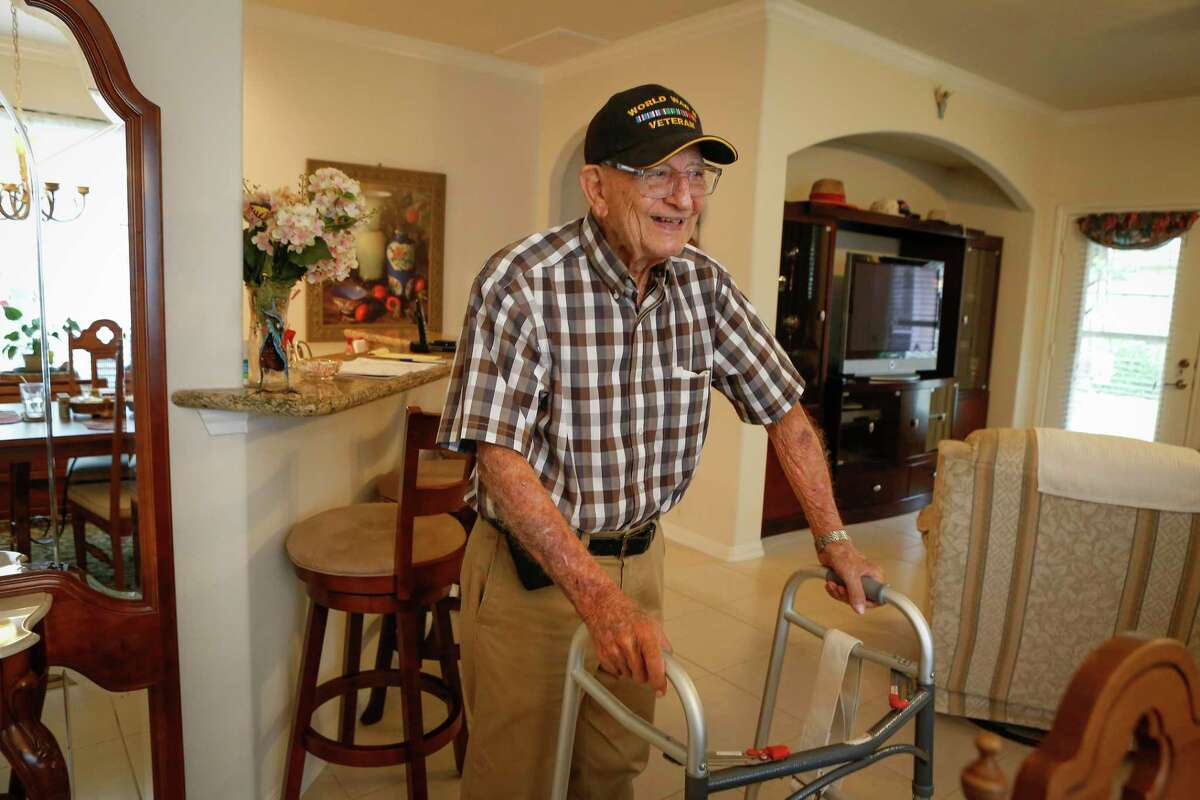 Mario Saladino, a World War II veteran tells stories of the war from his home Friday, June 4, 2021, in Pearland.