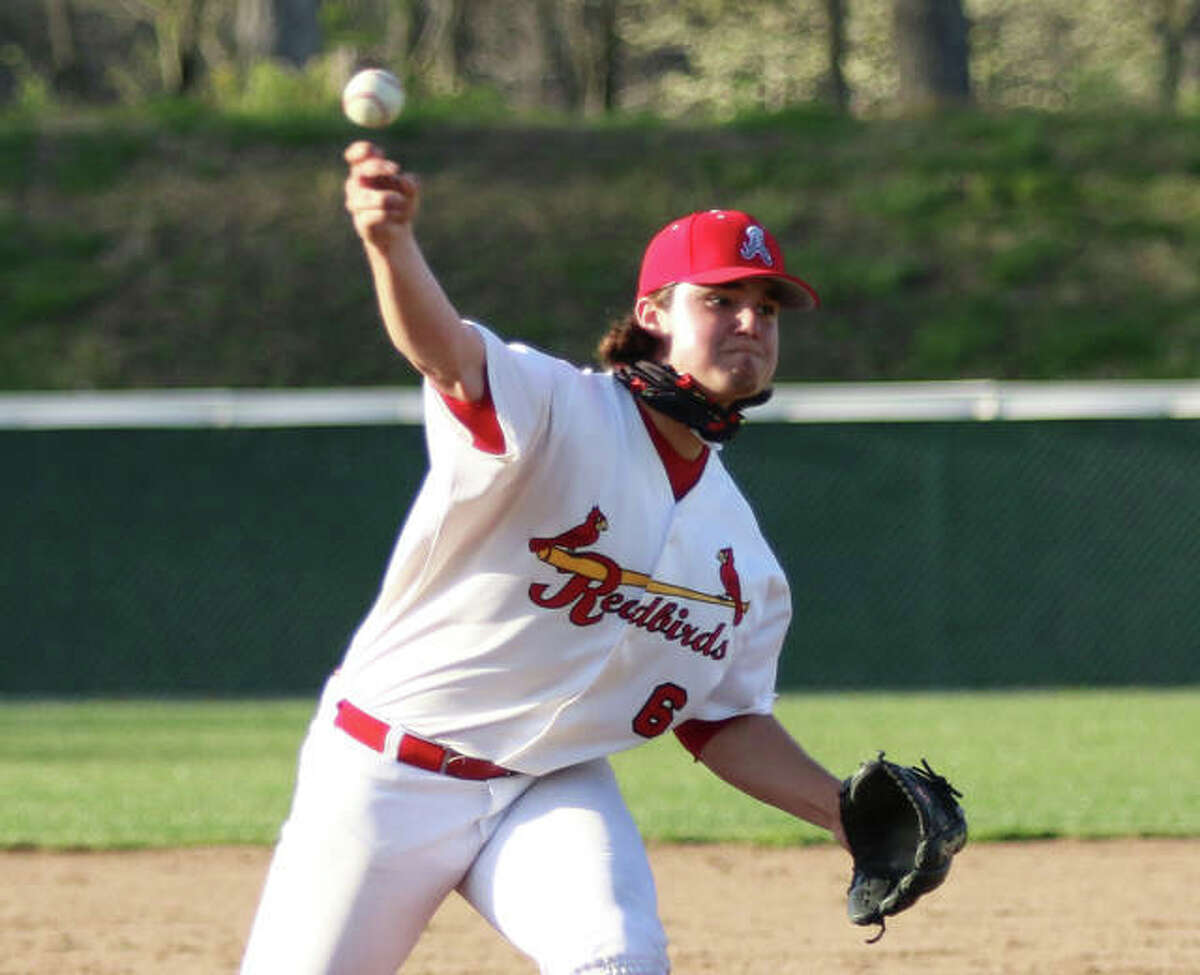 Alton senior Jackson Brooks, shown pitching earlier in an April game at Alton High, finished the season with a 1.02 ERA, but left with a no-decision after 6 1/3 innings in the Redbirds' Class 4A regional semifinal loss Friday at Belleville West.