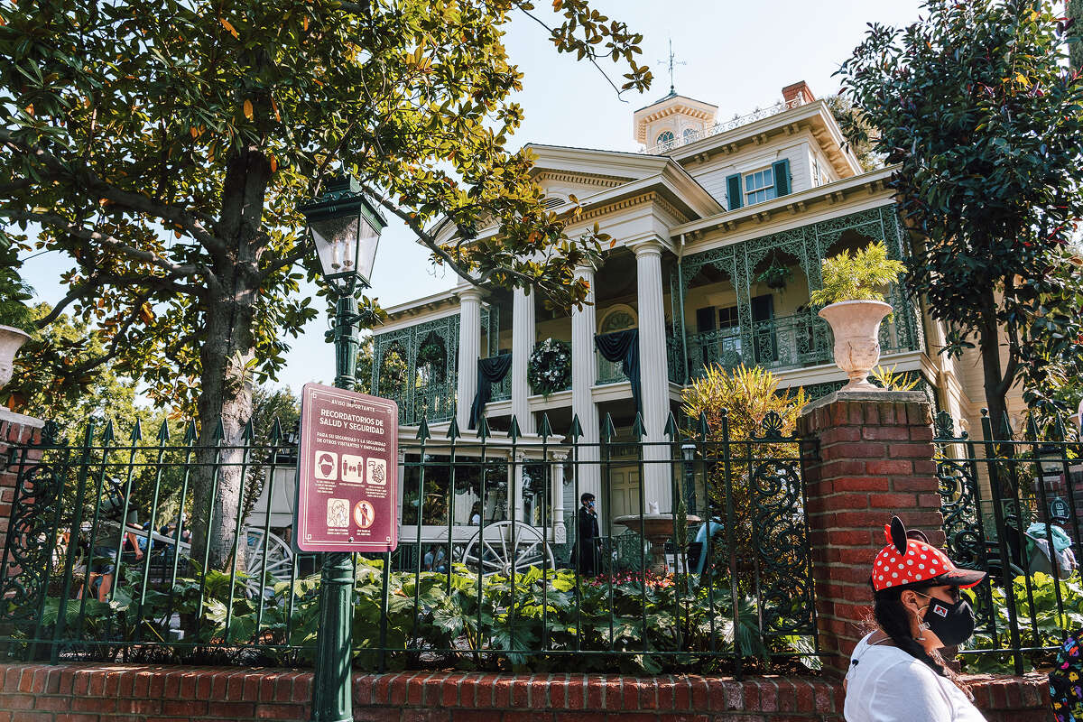 The Haunted Mansion attraction at Disneyland in May 2021.