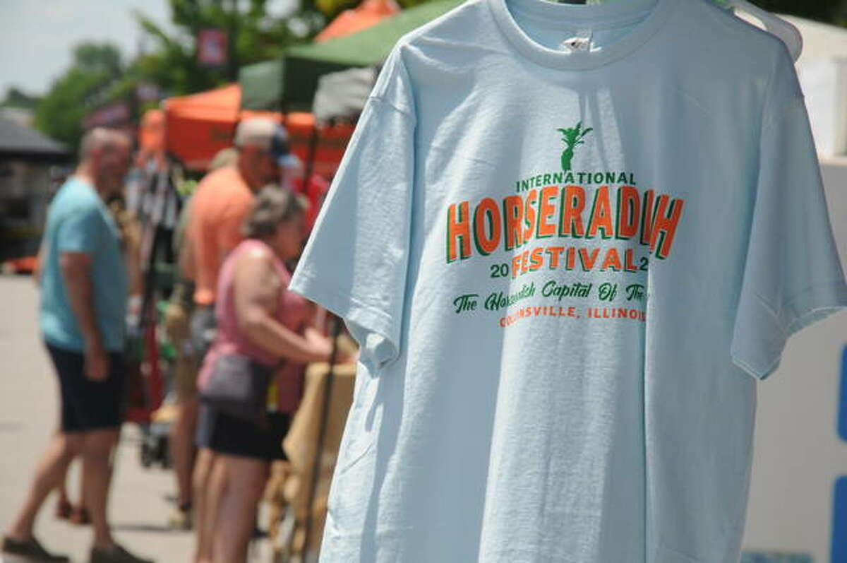 Horseradish Festival goers could purchase T-shirts Saturday to commemorate the 34th event in honor of the zesty root. About 60 percent of the world's horseradish is grown in the Collinsville area.