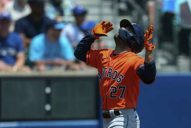 Houston Astros' Jose Altuve (27) celebrates his home run during the first inning of the team's baseball game against the Toronto Blue Jays in Buffalo, N.Y., Sunday, June 6, 2021. (AP Photo/Joshua Bessex) Photo: Joshua Bessex, Associated Press / Copyright 2021 The Associated Press. All rights reserved