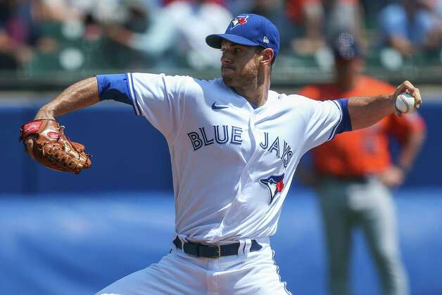 Toronto Blue Jays starting pitcher Steven Matz throws during the first inning of the team's baseball game against the Houston Astros in Buffalo, N.Y., Sunday, June 6, 2021. (AP Photo/Joshua Bessex) Photo: Joshua Bessex, Associated Press / Copyright 2021 The Associated Press. All rights reserved