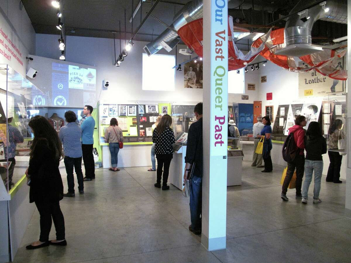 People visit the GLBT Historical Society in San Francisco, where the artifact will be on display.