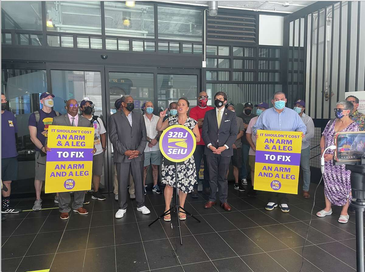 Assemblywoman Catalina Cruz, a Queens Democrat, speaking at a press conference in New York City on Sunday, June 6, 2021. The press conference was held to announce the Hospital Equity and Accountability Law, or HEAL.