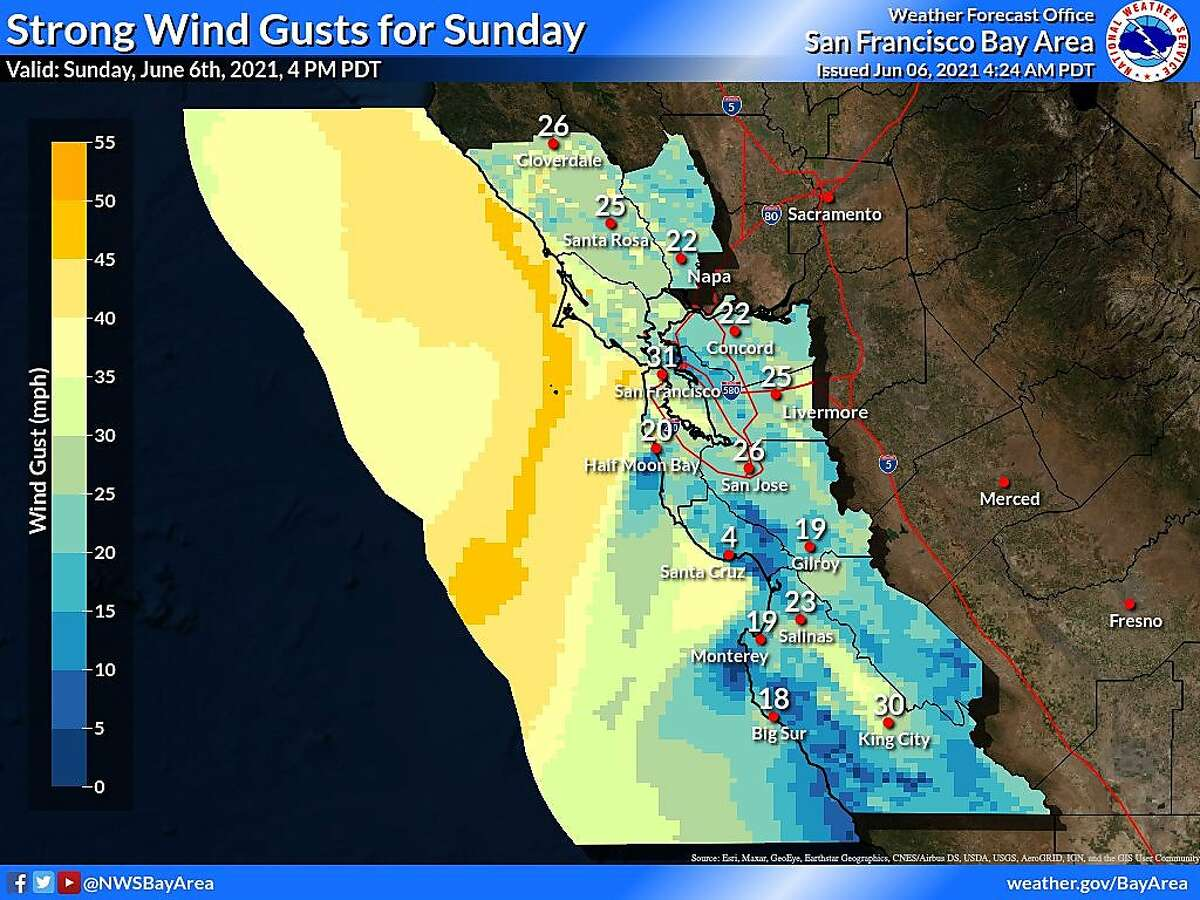 Winds are expected to pick up heading into the week, with gusts between 20 to 30 mph inland.