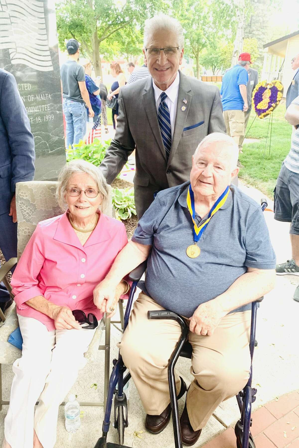 State Sen. Jim Tedisco, R-Glenville, presented Capt. David Wallingford with the state Senate Liberty Medal on Sunday, June 6, 2021. Wallingford, right, is pictured here with his wife, Helene.