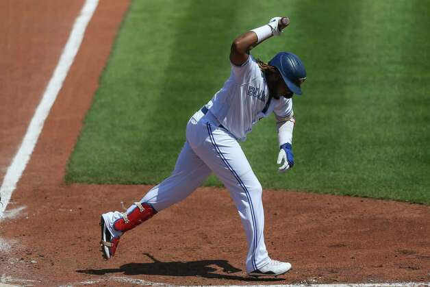 Toronto Blue Jays' Vladimir Guerrero Jr. reacts after he popped out to first base during the sixth inning of a baseball game against the Houston Astros in Buffalo, N.Y., Sunday, June 6, 2021. (AP Photo/Joshua Bessex) Photo: Joshua Bessex, Associated Press / Copyright 2021 The Associated Press. All rights reserved