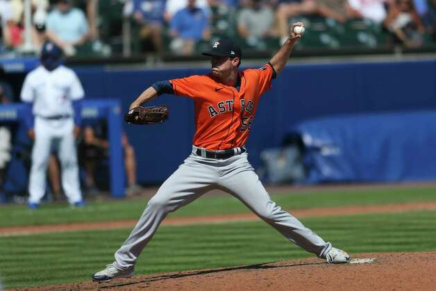 Houston Astros relief pitcher Brooks Raley throws a pitch during the seventh inning of a baseball game against the Toronto Blue Jays in Buffalo, N.Y., Sunday, June 6, 2021. (AP Photo/Joshua Bessex) Photo: Joshua Bessex, Associated Press / Copyright 2021 The Associated Press. All rights reserved
