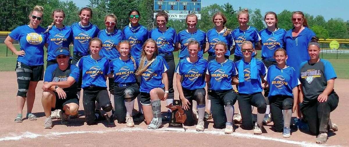Evart's softball team celebrates winning the district title on Saturday. (Courtesy photo)