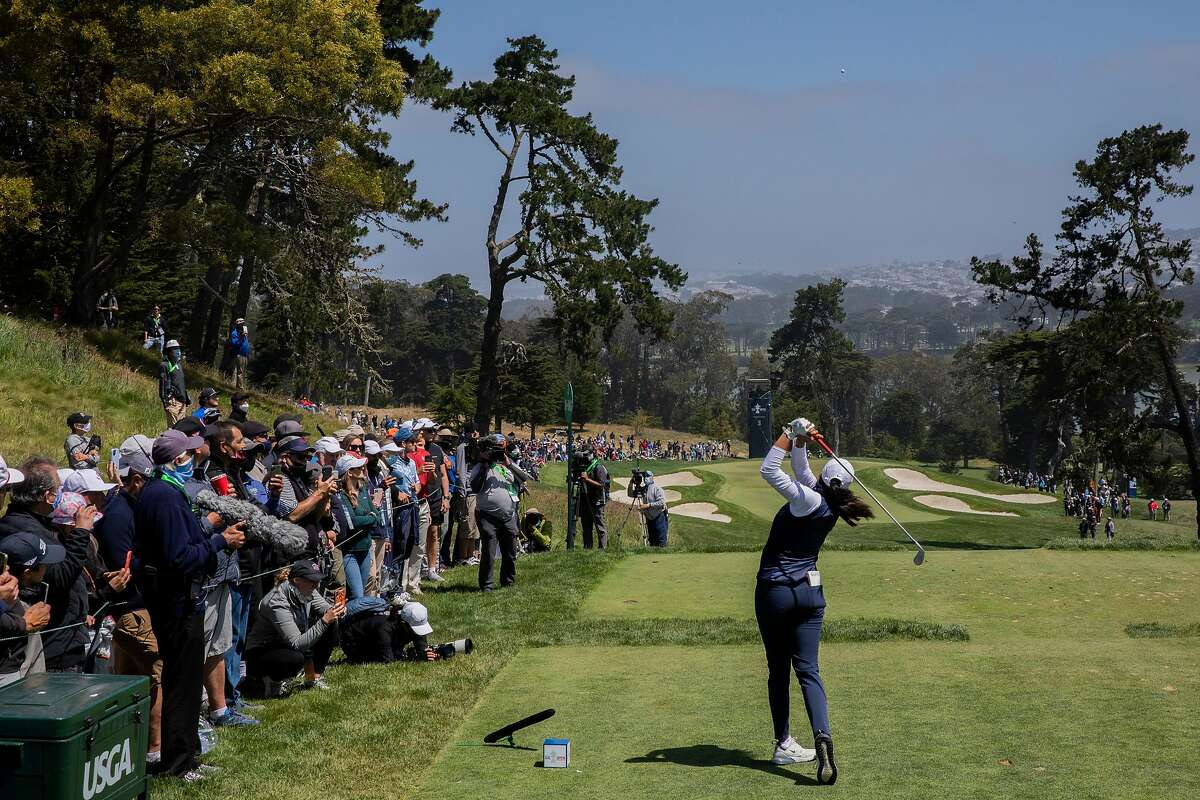 Megha Ganne hits her tee shot on the third hole during the fourth round of the 76th U.S. Women's Open Championship held on the Lake Course at the Olympic Club, Sunday, June 6, 2021, in San Francisco, Calif.