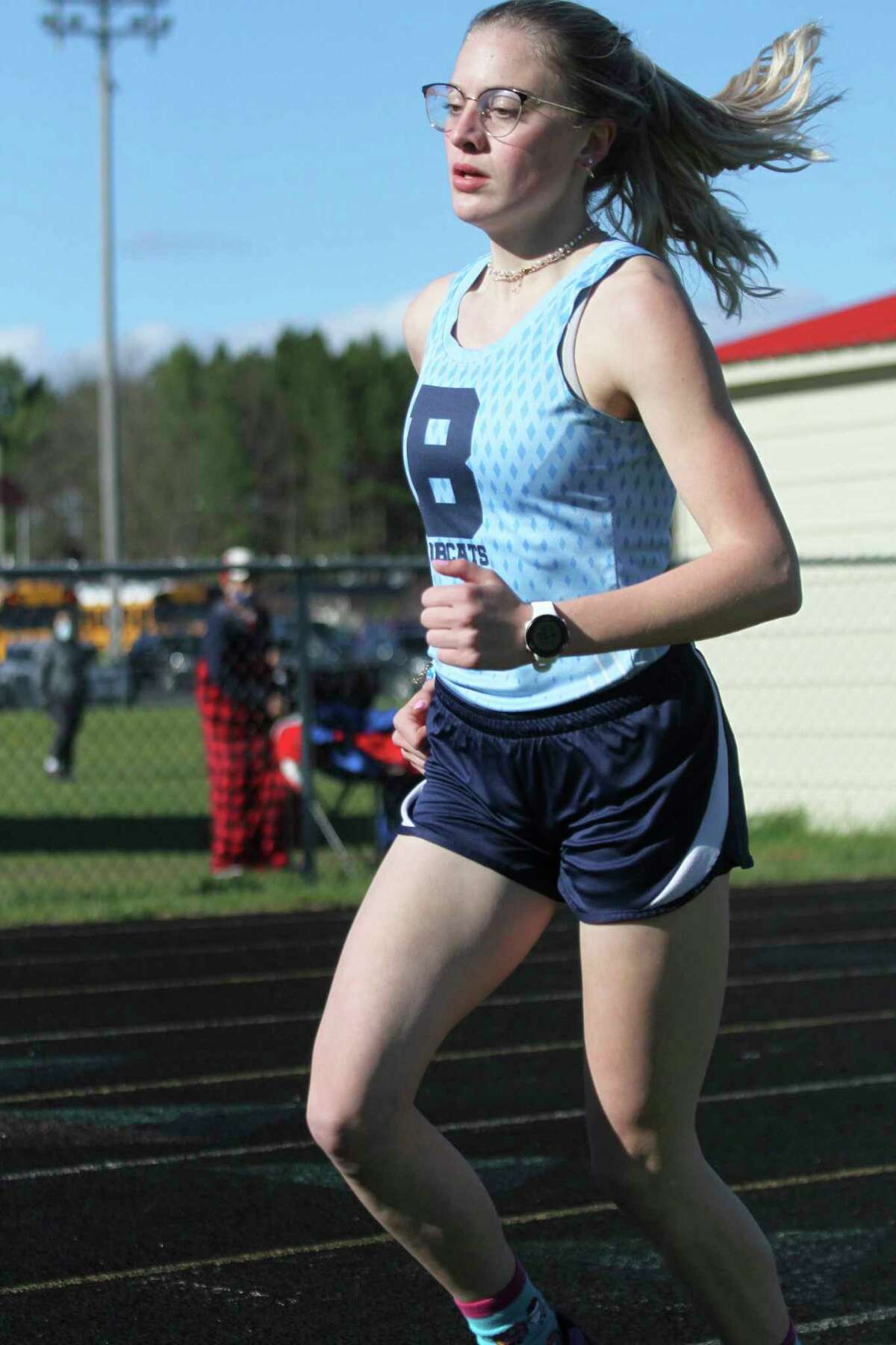 Brethren senior Alexis Tracy earned All-State honors with a seventh-place finish in the 3,200-meter run on Saturday at the Division 4 state finals in Hudsonville. (News Advocate file photo)